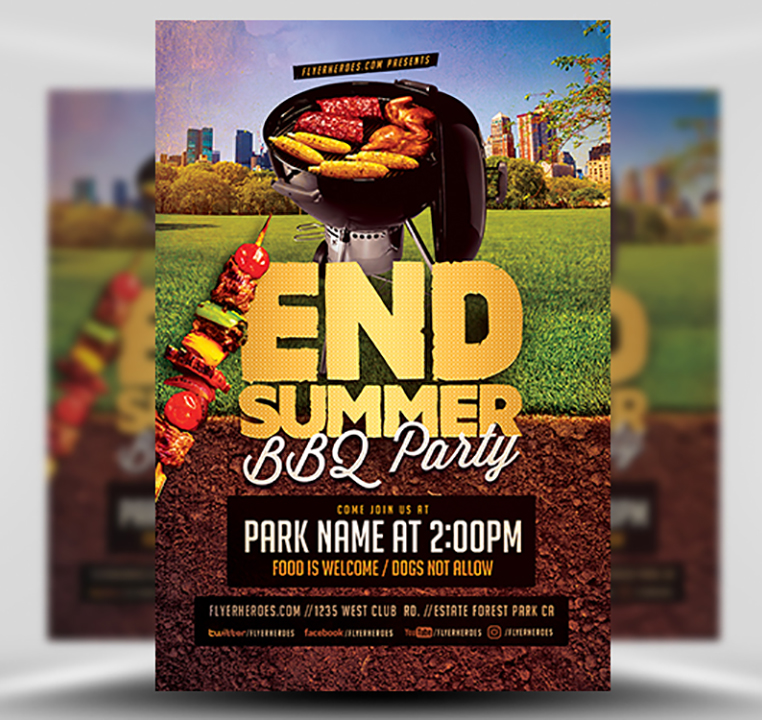 End of Summer BBQ Party Flyer Template - FlyerHeroes