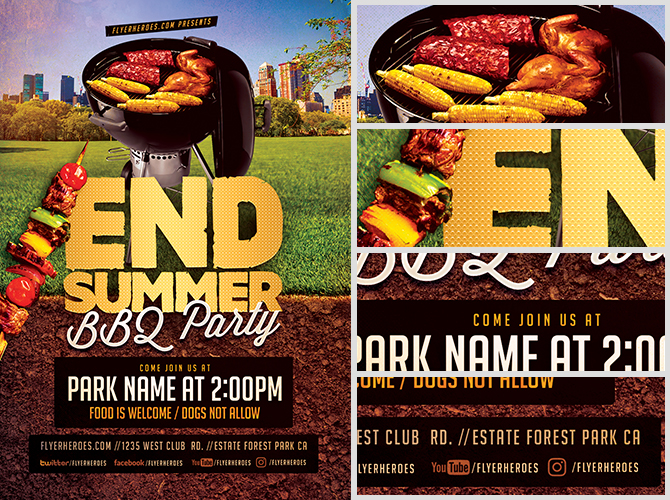 End of Summer BBQ Party Flyer Template