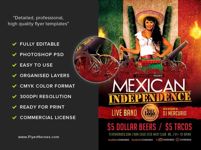 Mexican Independence Day Flyer Template - FlyerHeroes
