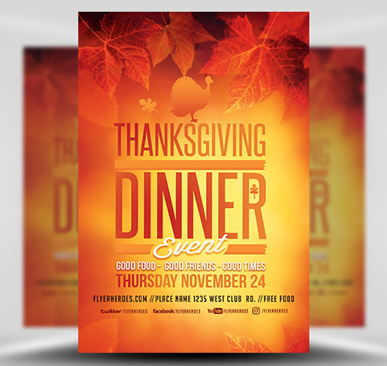 Thanksgiving Dinner Event Flyer Template - FlyerHeroes
