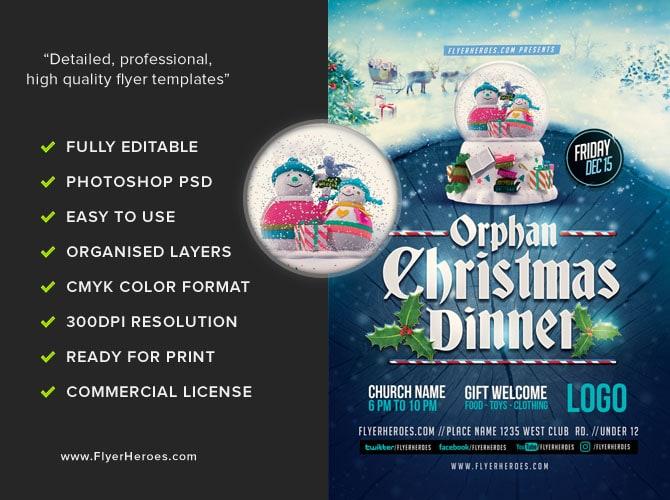 Orphan Christmas Dinner Flyer Template - FlyerHeroes
