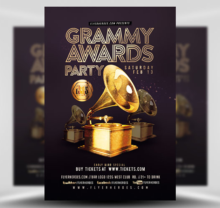 Grammy Awards Party Flyer Template - FlyerHeroes