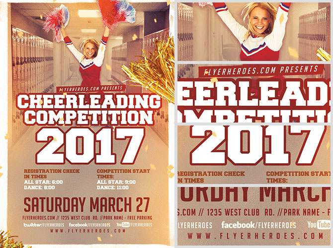 Cheerleading Competition 2017 Flyer Template v2 - FlyerHeroes