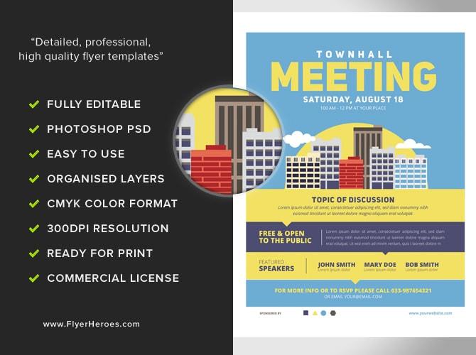 Community Meeting Flyer Template v2 - FlyerHeroes