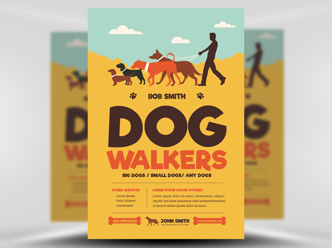 Dog Walkers Flyer Template - FlyerHeroes