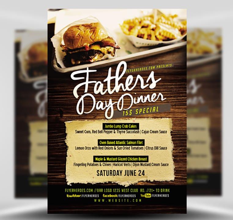 Father\u0027s Day Dinner Flyer Template - FlyerHeroes