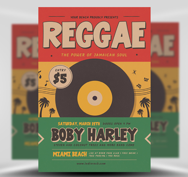 Retro Reggae Music Party Flyer Template