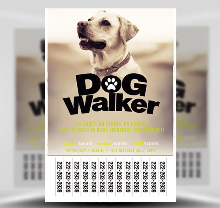 Professional Dog Walker Flyer Template - FlyerHeroes