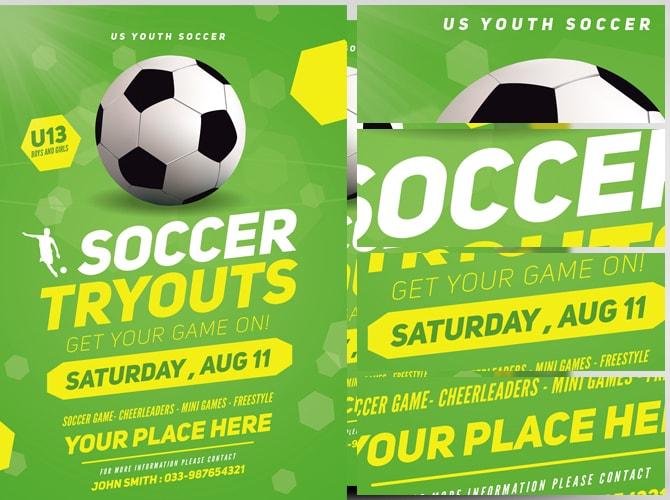 Soccer Tryouts Flyer Template - FlyerHeroes