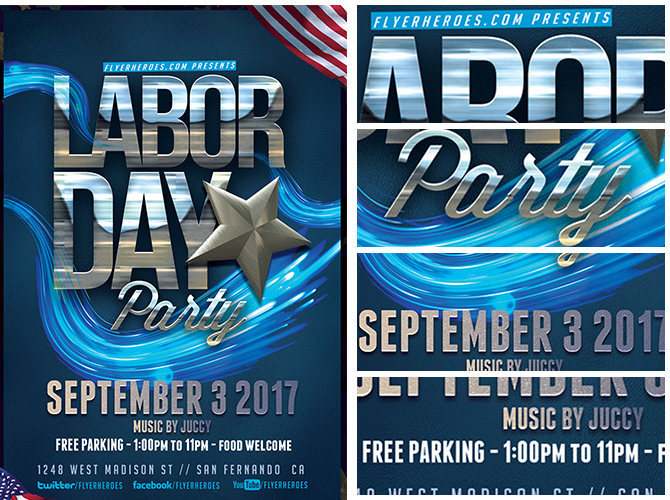 Labor Day Party Flyer Template v4 - FlyerHeroes