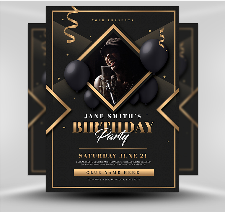 Gold Deco Birthday Party Template - FlyerHeroes