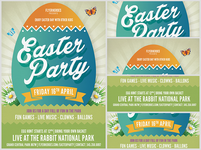 Easter Party Flyer Template v6 - FlyerHeroes