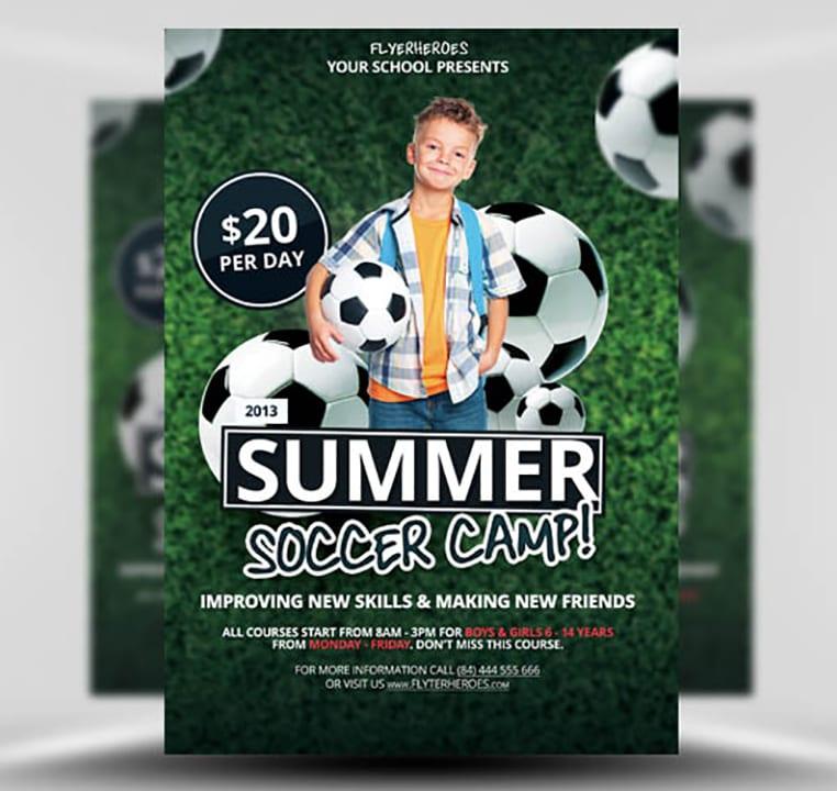 Free Summer / Soccer Camp Flyer Template - FlyerHeroes