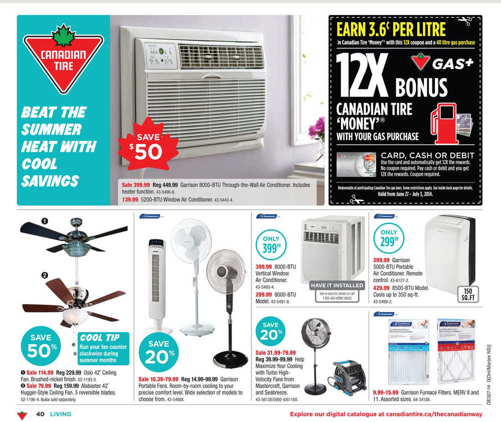 Vertical Window Air Conditioner Canada Canadian Tire Weekly Flyer On Bc Nl Nb June 27 To July 3 Canada