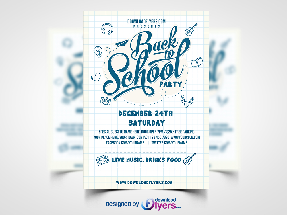 Back to School Party Flyer Template Free PSD Flyer PSD