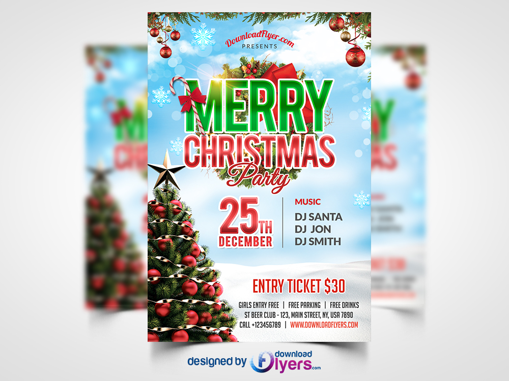 Christmas Party Flyer Free PSD Template Flyer PSD