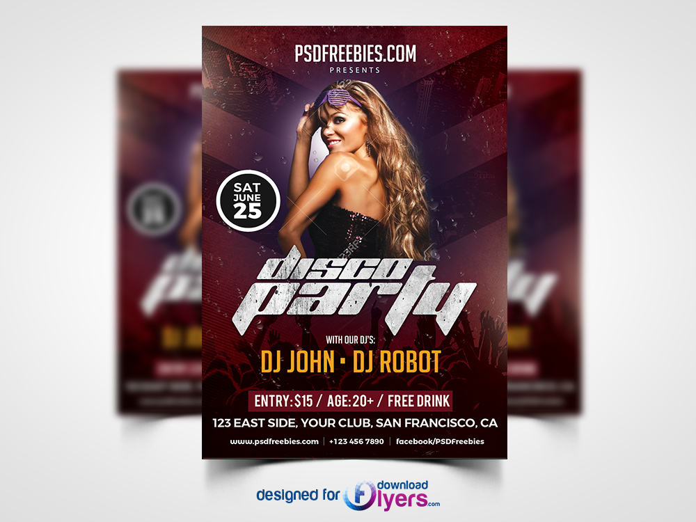 Disco Party Poster Flyer Template Free PSD Flyer PSD