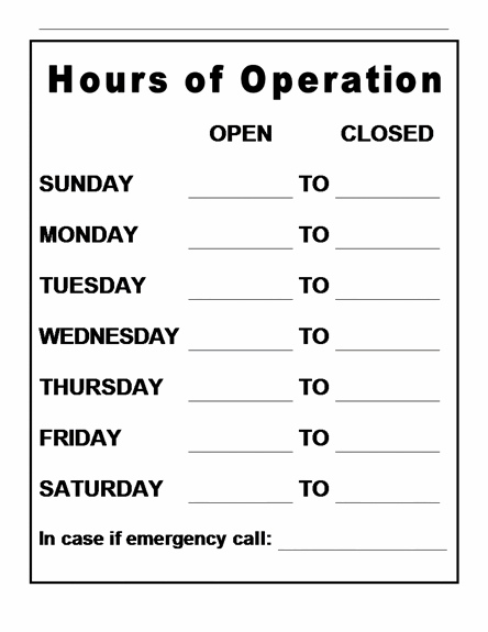 Store Hours Sign Template | Template | Resume | Service