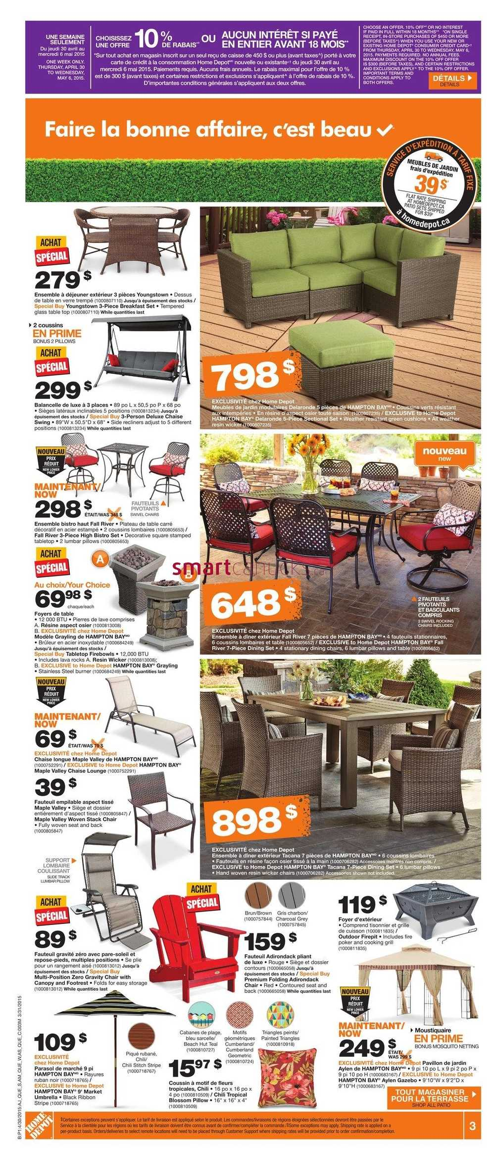Fauteuil Exterieur Home Depot Home Depot Qc Flyer April 30 To May 6