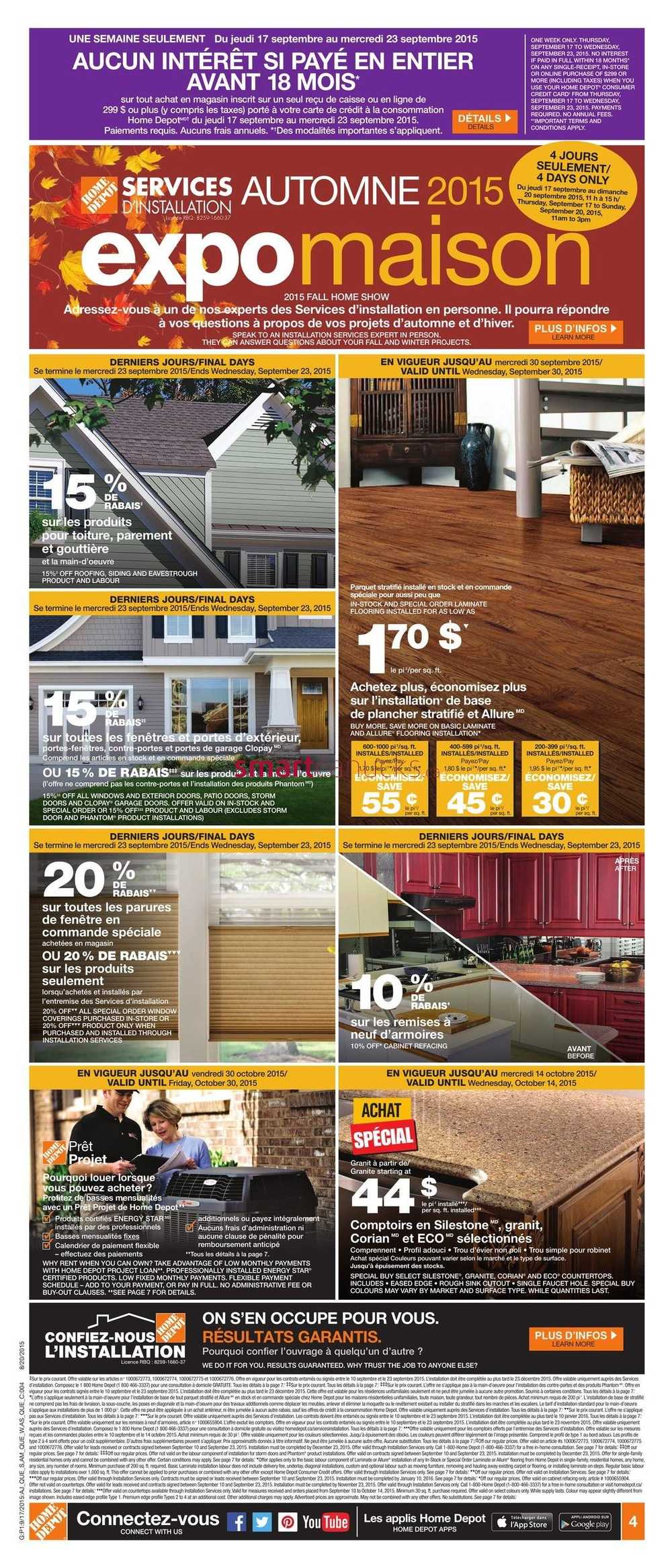 Plancher Home Depot Home Depot Qc Flyer September 17 To 23