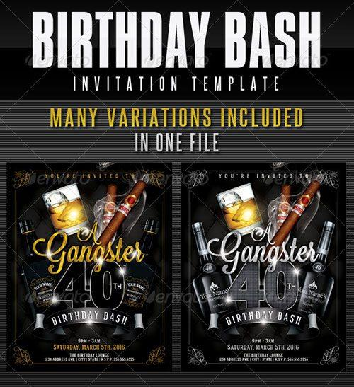 40th Birthday Ideas Gangster Birthday Invitation Templates - flyer invitation templates free