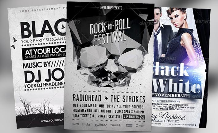 Top 10 Best Black and White PSD Flyer Templates to download club party - black and white flyer template