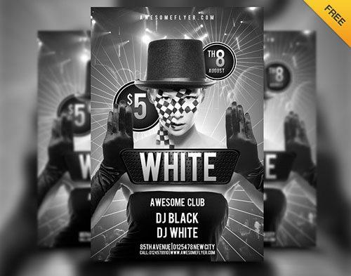 Top 20 Best Club and Party Free PSD Flyer Templates free to download - black and white flyer template