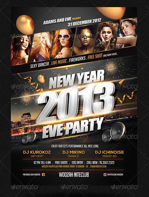 New Years Eve Party Poster Templates - free new years eve flyer template