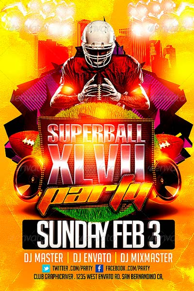 super bowl party flyer