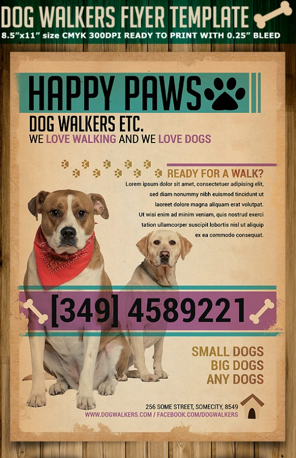 dog walking poster template