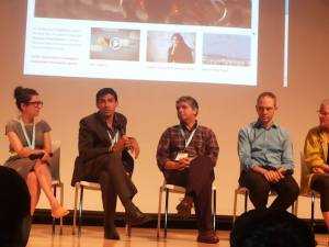 Panel discussion with Melissa Friedling, Nitin Sawhney (Co-Director), Rafael Parra (Editor), Paulo Blikstein, and Edith Ackermann at the International Design and Children Conference, June 27, 2013.