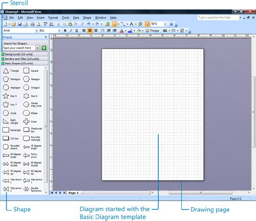 Starting Diagrams by Using Templates Getting Started with Visio 2007