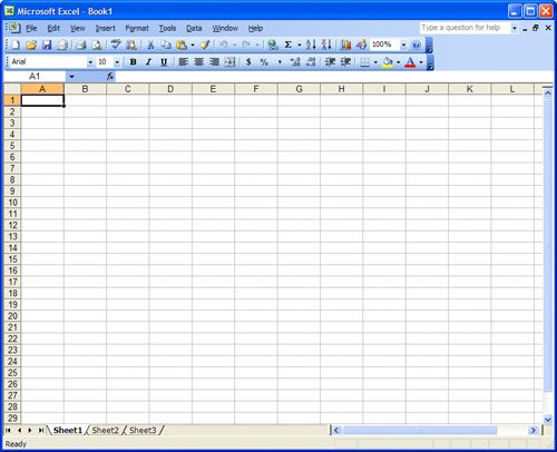 Comparing Google Spreadsheets to Excel Using Google Spreadsheets - blank preadsheet