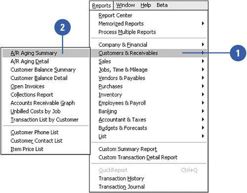 Preparing an Accounts Receivable Aging Summary Report Show Me