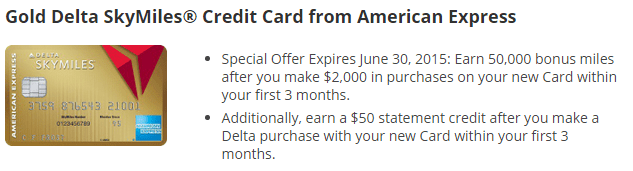 50K & 60K Delta Gold & Platinum SkyMiles Credit Card