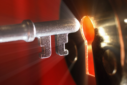 Key & keyhole with light coming from it
