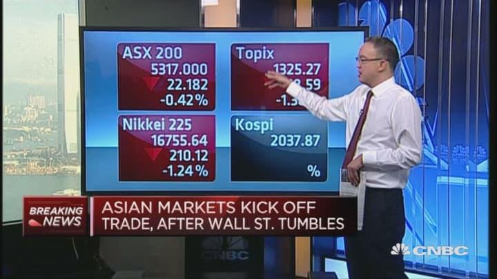 Asian markets take a tumble