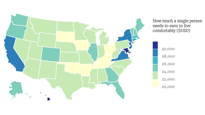 This map shows the living wage for a single person across America