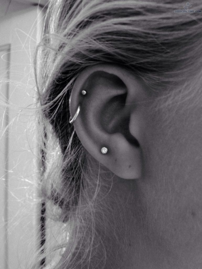 Hoop Earrings With Studs Stud And Hoop Helix Piercing