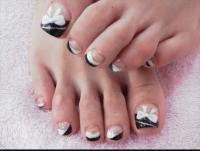 black and white bows toe nail design - fmag.com