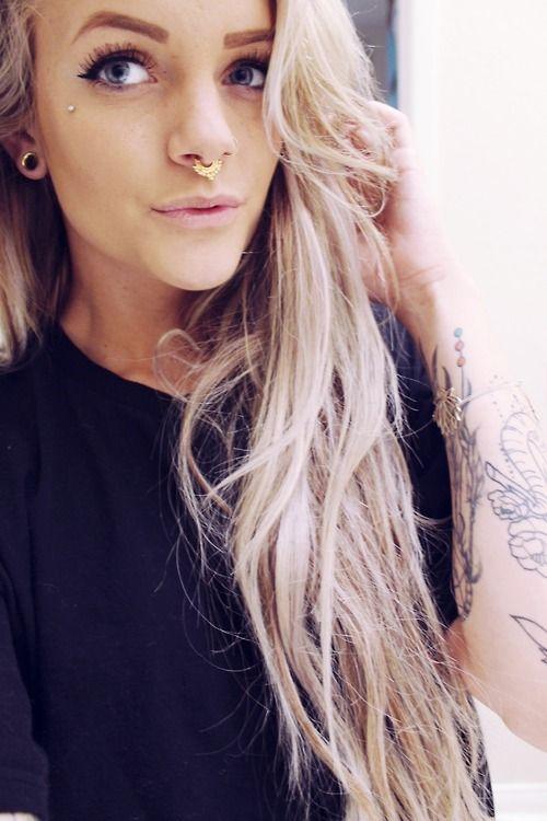 cute nose piercings cute girl septum ring   fmag