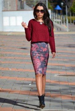 Knitwear Crop Top, Flower Pencil Skirt, Boots