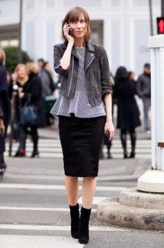 Street-style Black and Grey Pencil Skirt