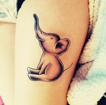 85 beautiful elephant tattoos and their meanings for Small cartoon tattoo designs