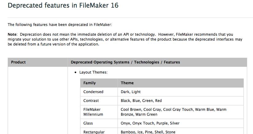FileMaker 16 Depricated