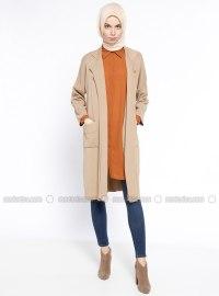 Beige - Shawl Collar - Cotton - Cardigan