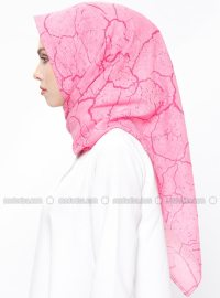 Pink - Printed - Cotton - Scarf