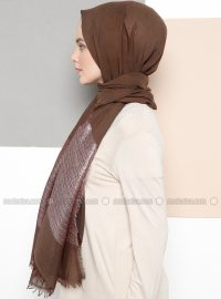 Brown - Plain - Cotton - Shawl