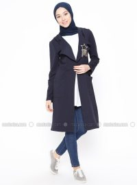 Navy Blue - Unlined - Shawl Collar - Jacket