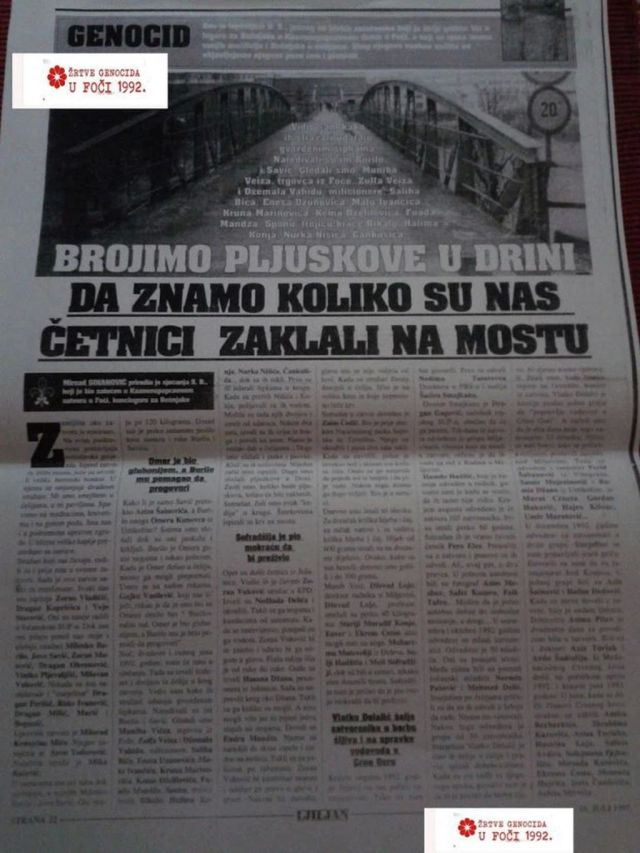 Foča - 1941.-1945. - KP Dom - dokumenti - Brojimo pljuskove u Drini da znamo koliko su nas četnici zaklali na MOSTU
